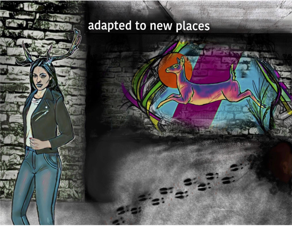 "White sans-serif text reads ""adapted to new places.""