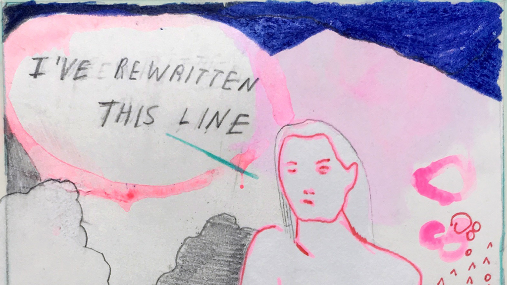 "A detail from a comic in inks with a longer-haired figure drawn in pink speaking, ""I've Rewritten This Line"""