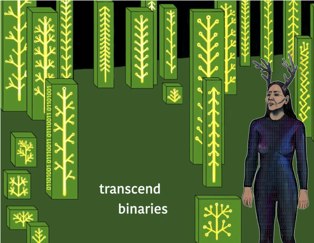 "White sans-serif text reads ""transcend / binaries"". Deerwoman is in a forest of rectangles with circuits on them in the shape of trees, on the side of one is the binary sequence for issi (deer) ""01101001 0110011 0110011 01101001"". She wears a fitted suit covered in zeroes and ones."