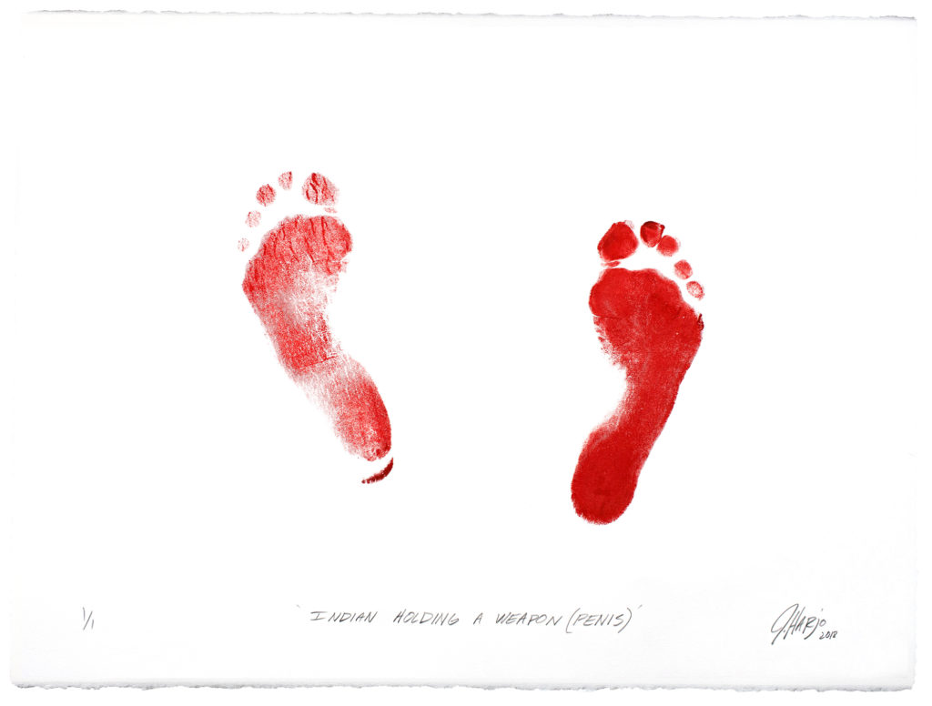 "On creamwhite paper, in bright red ink, the print of bare feet, the left less defined than the right. Both footprints show five toes, and both feet are splayed outward, the left slightly moreso than the right, and slightly forward. Beneath, blackinked in oblique print hand, ""INDIAN HOLDING A WEAPON (PENIS), and in the bottom right corner, in oblique script, ""J Harjo 2018"", the date in subscript."