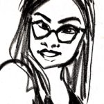 Nora is shown in black line drawing on white background. Nora has hair that falls somewhat below the shoulders, and wears cateye glasses and a tank or halter top.