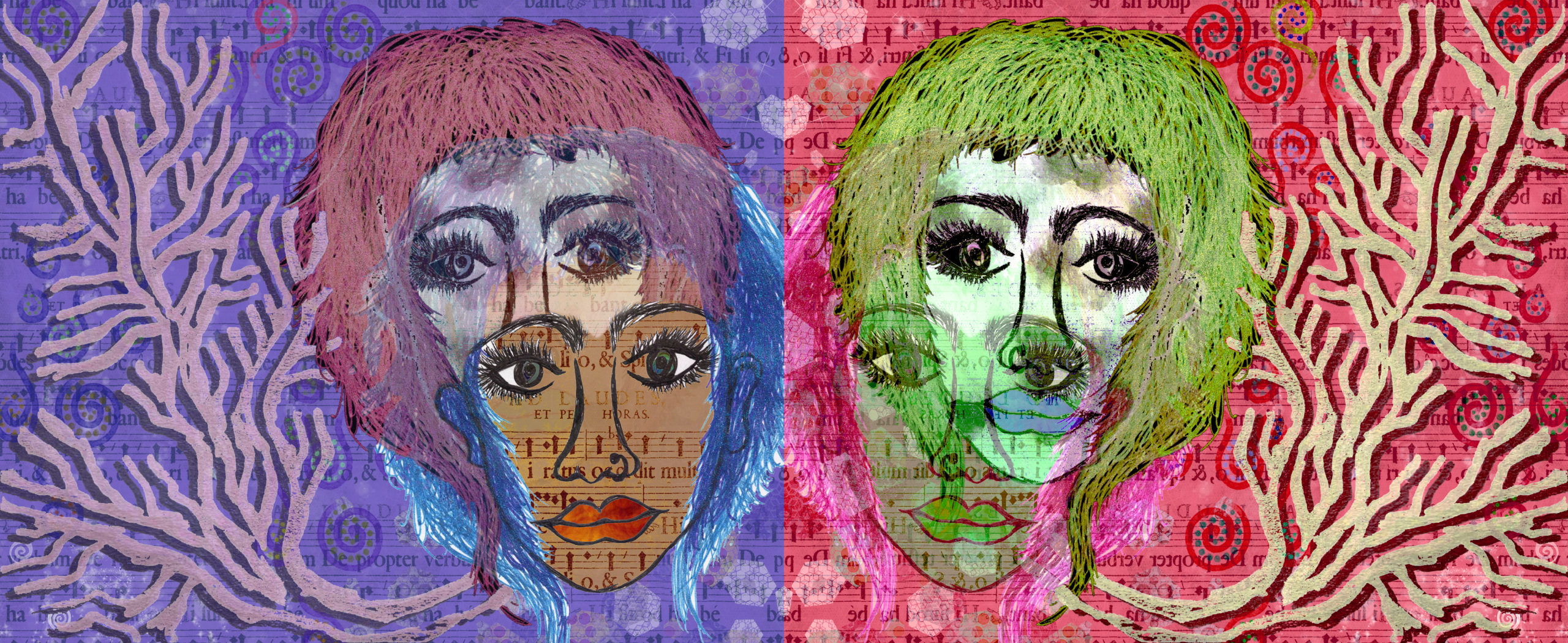 The artwork consists of two images side by side. They are horizontally flipped versions of the same picture, also edited with different colors, highlights, and shadows. The picture consists of two faces, one partly superimposed onto the other: a femme-presenting person with layered short hair (mostly chin-length with bangs), with striking eyelashes and eyebrows, also wearing a nose ring. To the side of the person's face, there is a tree-like structure (without leaves) branching out towards the edge of the picture. In the background, there are various swirls and hexagons set against stylized Lorem Ipsum text. The image on the left has a purple background; a mauve tree structure; and the two faces have blue and pink hair respectively. The face in front with blue hair has more dominant opacity, and the person's skin colour is brown. The face in back has ghostly white skin. The image on the right has a bright pink background; a dull green tree structure; and the two faces have green and pink hair respectively. The face in back with green hair has more dominant opacity, and the person's skin colour is ghostly white. The face in front has dull brown skin, but is quite faded.