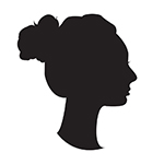 This image, representing NL, is a black silhouette profile on a white ground, the neck long and slender, the hair held back in a thick bun.