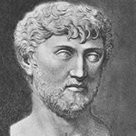 Detail from an engraving of a bust of Lucretius; Lucretius has curly hair and beard, thin eyebrows, and large almondshape eyes, in which the pupils are only slightly visible.